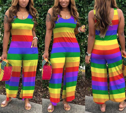 Rainbow Striped Sleeveless Straight One Piece Romper/Jumpsuit