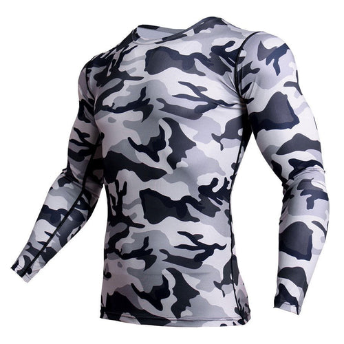 Camo Crossfit Long Sleeve MMA Rashguard Compression Shirt - kats closet1