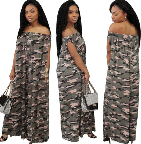 Camouflage Loose Short Sleeve Off The Shoulder Jumpsuit - kats closet1