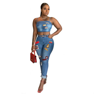 Denim Two Piece Spaghetti Strap Crop Top + Skinny Pencil Pants Set