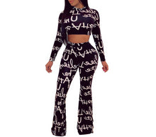 Load image into Gallery viewer, Casual 2 Piece Letter Print Long Sleeve Crop Top  And Wide Leg Pants