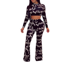 Casual 2 Piece Letter Print Long Sleeve Crop Top  And Wide Leg Pants