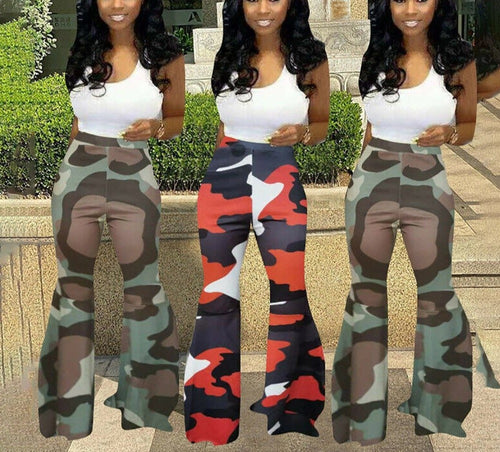 Flare Camouflage Ripped Long Bell Bottom Pants