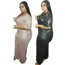 Load image into Gallery viewer, Casual Sexy Sequin Club Party Short Sleeve V-Neck Backless Jumpsuit