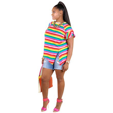Load image into Gallery viewer, Loose Colorized Cross Stripe Ruffles Sleeve Shirt - kats closet1