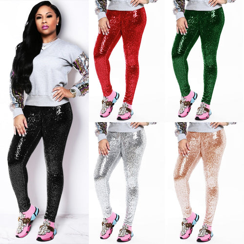 Casual Mid Waist Sequin Skinny Solid Pencil Pants