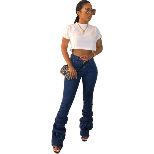 Ruched High Waist Skinny Denim  jeans