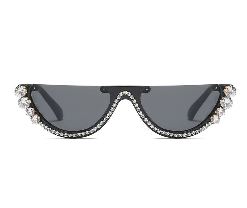 Cat Eye Metal Jewel With Rhinestone Decoration Sunglasses