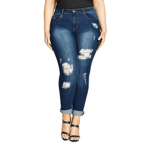 City Chic Womens Plus The Edit Boyfriend Jeans Distressed Relaxed - kats closet1