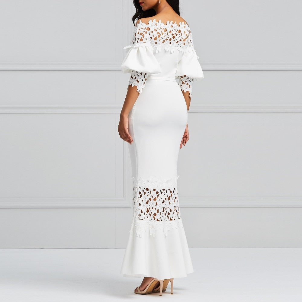 d2731d9b088 White Lace Mermaid Lace-Up Bodycon Maxi Dress – kats closet1