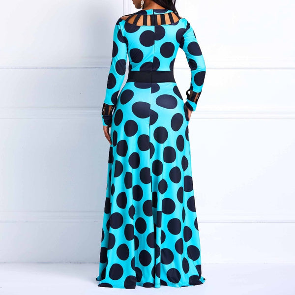 Polka Dot Long Sleeve Printed Tunic Pocket High Waist Afircan Maxi Dress - kats closet1