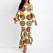Load image into Gallery viewer, Orange Print Mermaid Flare Long Sleeve Off Shoulder African Print Maxi Dress - kats closet1