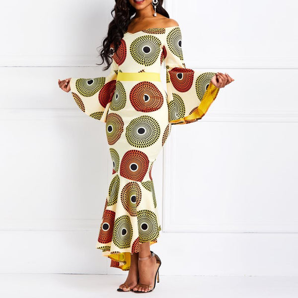 Orange Print Mermaid Flare Long Sleeve Off Shoulder African Print Maxi Dress - kats closet1
