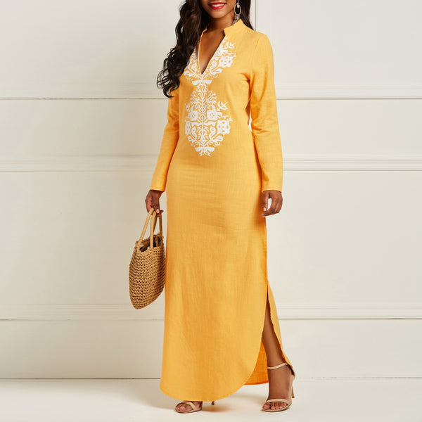 Yellow V-Neck Long  Loose Floral Printt African Maxi Dress