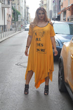 Load image into Gallery viewer, Cold Shoulder Short Sleeve Casual T Shirt Letter Printed Loose  Dress