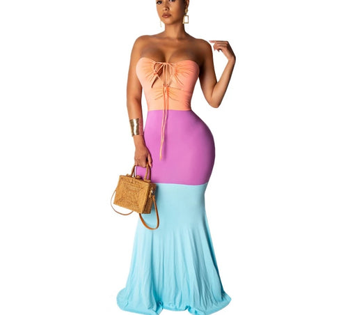 Color Block Maxi Boho Halter Strapless Lace Up Backless Mermaid Long Dress