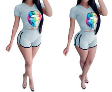 Load image into Gallery viewer, Short Sleeve Colorful Big Mouth Printed 2 Piece Set