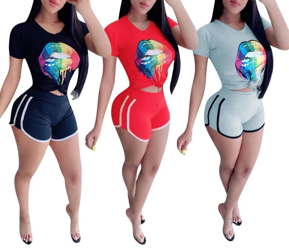 Short Sleeve Colorful Big Mouth Printed 2 Piece Set