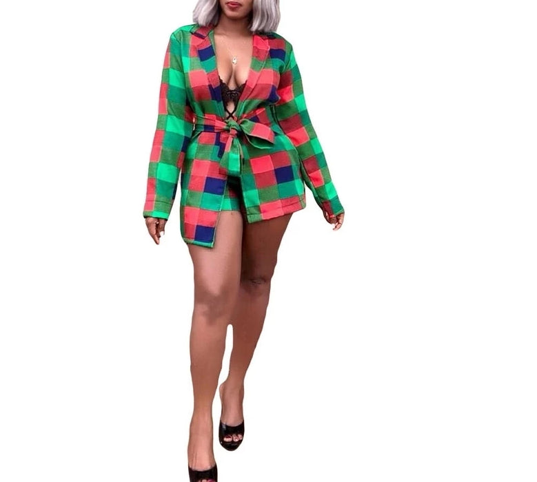 Colorful Plaid Printed Two Piece Set