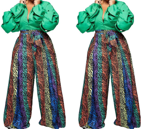 Colorful Printed High Waist Wide Leg Long Pants