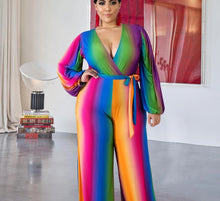 Load image into Gallery viewer, Colorful Stripe Plus Size  V Neck Wrap Long Lantern Sleeve One Piece Jumpsuit