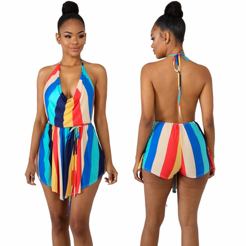 Colorized Vertical Striped Short Jumpsuit - kats closet1