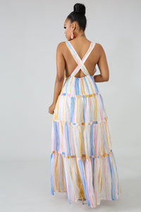 Contrast Color Striped Print Fit And Flare Sleeveless V Neck High Waist Ankle-Length Dress