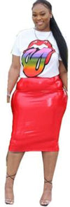 Lips 2 Piece Short Sleeve O Neck T-Shirt And PU Slim Knee Length Skirt