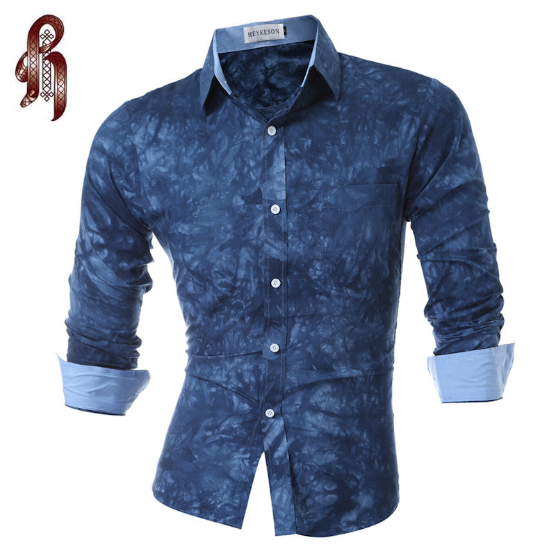 Men Shirt Luxury Brand 2018 Male Long Sleeve Shirts Casual Printing Tie-Dye Slim Fit Dress Shirts Mens Hawaiian Camisa Masculina - kats closet1