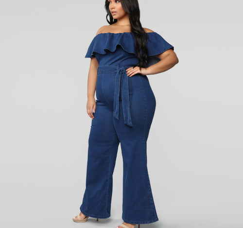 Plus Size Off Shoulder Ruffled With Belt Jumpsuit