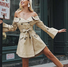 Load image into Gallery viewer, Sexy off shoulder Double Breasted Trench Coat - kats closet1