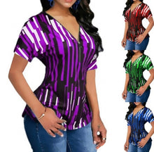 Load image into Gallery viewer, Short Sleeve Color Block V-Neck Front Zipper Slim Striped Shirt