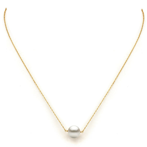 DaVonna 14k Yellow Gold White Freshwater Pearl Pendant Necklace, 18