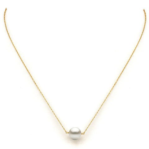 "DaVonna 14k Yellow Gold White Freshwater Pearl Pendant Necklace, 18"" - kats closet1"