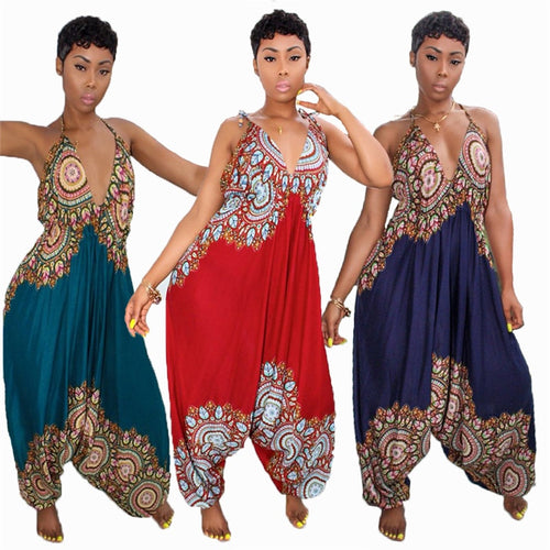 Dashiki African Print Loose Backless Baggy Jumpsuit - kats closet1