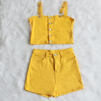 Two Piece Denim Button Up High Short+Shorts Set