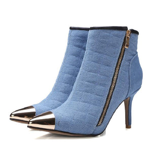 Denim Blue Metal Pointy Toe Ankle Boots