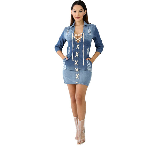 Long Sleeve Lapel Neck Bandage Lace Up Denim Dress