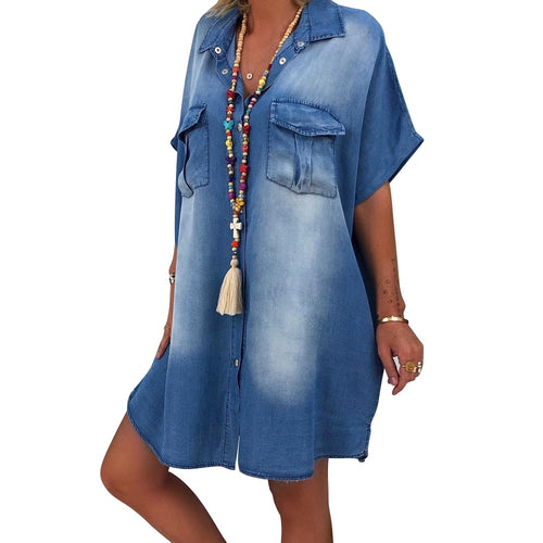 Denim Short Sleeve Button Pocket V Neck Loose Mini Dress