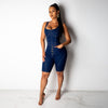 Denim Overalls Skinny One Piece Knee Length Jumpsuit