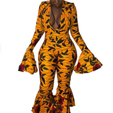 Load image into Gallery viewer, African Print Wide Leg Ruffles Long Sleeve Bell Bottom Hippie Pants Jumpsuit