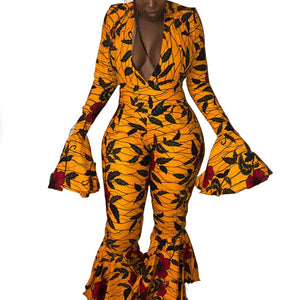 African Print Wide Leg Ruffles Long Sleeve Bell Bottom Hippie Pants Jumpsuit