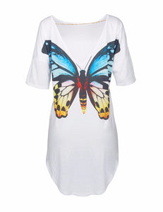 Summer Women Tops Back Cute Butterfly Cats Print Printed Sexy Deep V Backless With A Short Sleeve Long Tops T-Shirt Tees W2084 - kats closet1