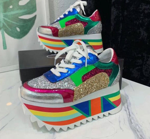 Sequin Platform Mixed Color Lace Up Thick Bottom Sneakers - kats closet1