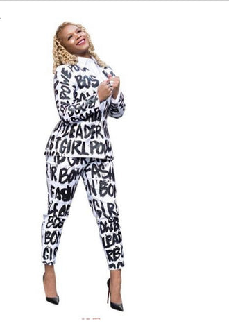 Black And White Letter Print Two Piece Set