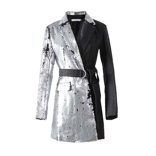 [EAM] 2018 New Autumn Winter Lapel Long Sleeve Half Side Sequins Stitch Loose Buckle Belt Jacket Women Coat Fashion Tide JI994 - kats closet1