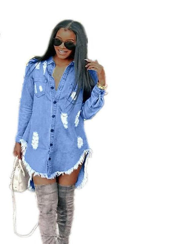 Denim Hole Tassels Long Sleeve Turn-Down Collar Denim Dress