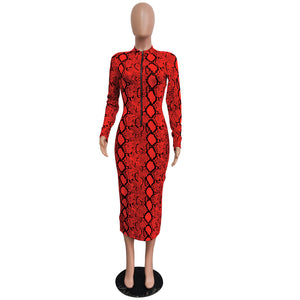 Snake Print Bodycon Long Sleeve Evening Dress