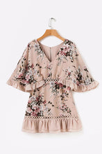 Load image into Gallery viewer, Chiffon V Neck Hollow Out Floral Print Summer Mini Dress Women Ruffle Batwing Sleeve Beach Casual Streetwear Short Dress U407 - kats closet1