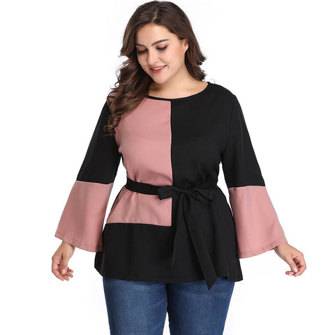 Elegant Multi Color O Neck Long Sleeve Casual Belted Blouse